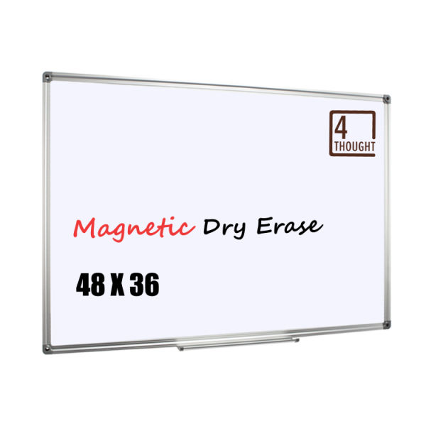 4 Thought Magnetic Dry Erase Board, 48 X 36 Inches Whiteboard Wall-Mounted with Aluminium Frame and Removable Marker Tray, Magnetic Message and Memo Bulletin Board of Commercial Quality