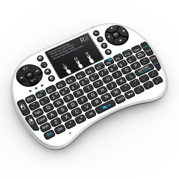 White Rii I8+ Mini Wireless 2.4G Backlight Touchpad Keyboard With Mouse for PC Android DPI