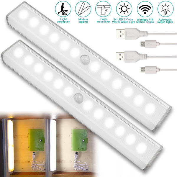 Lights & Lighting Smart Motion Sensor Led Light Under Cabinet Light Closet Wardrobe Kitchen Led Lamp Battery Power Hallway Cupboard Night Lighting
