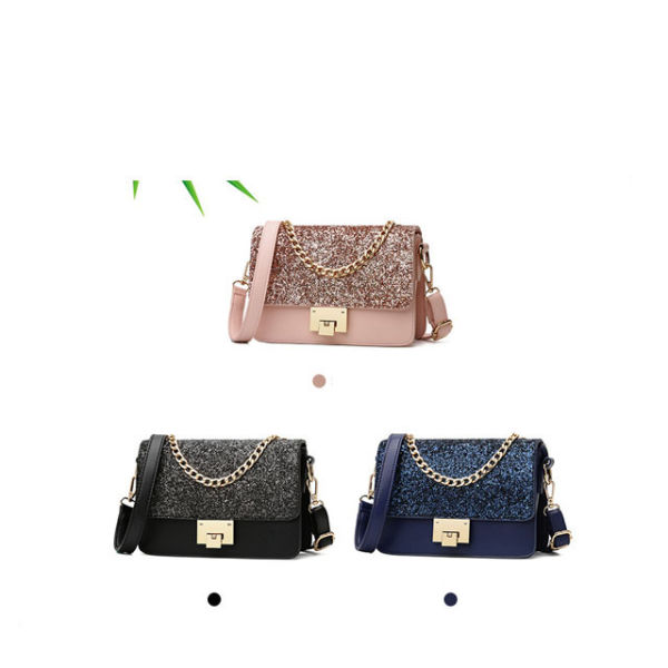 2019 New Women's Tote Bag Fashion Sequined Small Square Lady PU Fashion Hand Bag