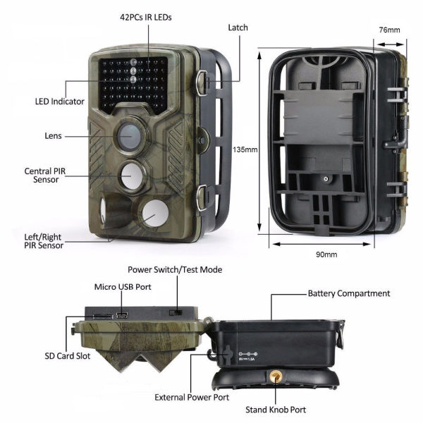 "12MP 1080P HD Game & Trail Hunting Camera Night Vision up to 65ft with 42pcs 940nm IR LEDs and 120 Wide Angle, 2.4"" LCD Display,0.6s Trigger Time Game Camera"