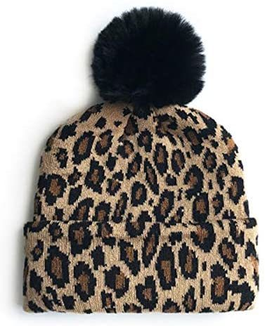 Leopard Print Baby Infant Beanie Knit Warm Winter POM Skull Cap Hat (Brown)