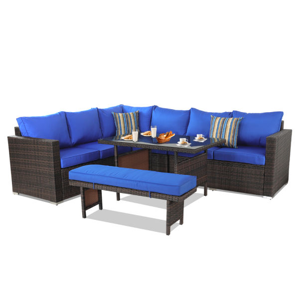 Tremendous Patio Furniture Sets 5Pcs Brown Pe Rattan Sofa Set With Royal Blue Cushion Garden Rattan Seating Couch Sectional With Bench Conversation Sofas 1 Set Cjindustries Chair Design For Home Cjindustriesco