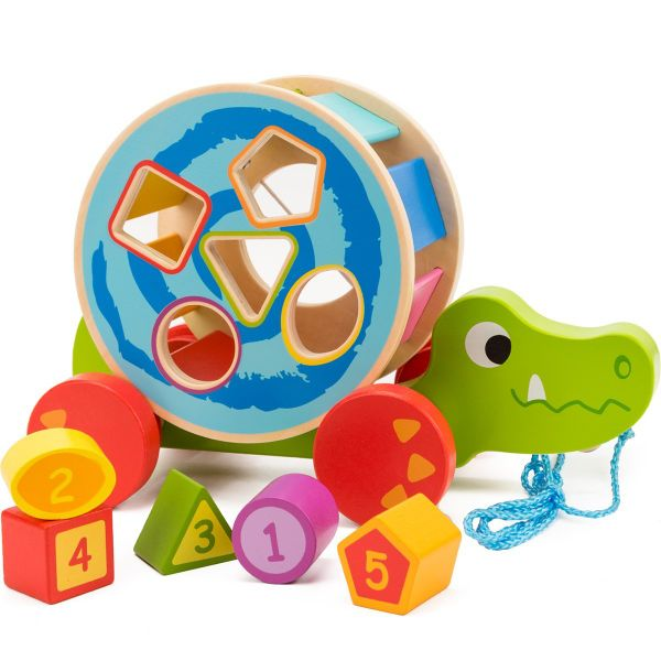 22bda70fe60c COSSY Wooden Shape Sorter Pull Toy - Wooden Crocodile Puzzle for Toddler  Learning Walk-A
