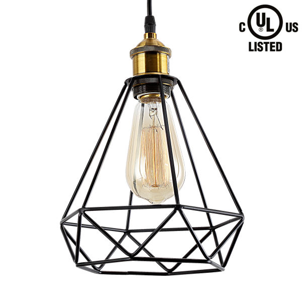 shop for homiforce vintage style 1 light black polygon pendant light Kitchen Island Glass homiforce vintage style 1 light black polygon pendant light with cage metal shade in retro black finish modern industrial edison style for kitchen island 1