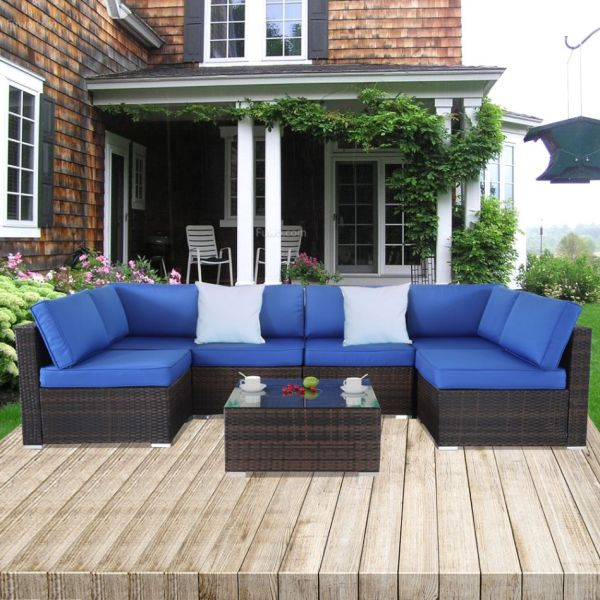 Shop For Patio Rattan Furniture 7pcs Garden Sectional Sofa