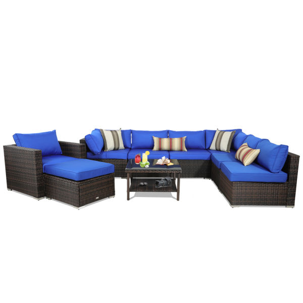 Patio Rattan Sofa 9 Piece Outdoor Wicker Furniture Outside Conversation Couch Deck Seating Brown
