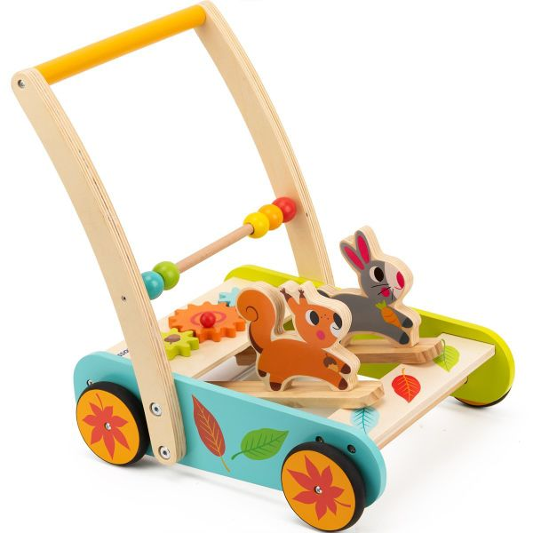 Cossy Wooden Baby Learning Walker Toddler Toys For 1 Year Old Rabbit And Roll Cart Push And Pull Toy 1 Set Box