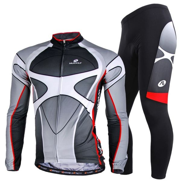 NUCKILY Men s Cycling Long Sleeve Jersey Summer and Autumn Full Zip  Sportswear 786f13f8a