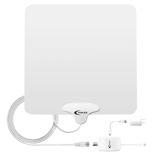 HDTV Antenna ,Philex 50 Miles TV Digital Indoor Amplified Antenna with  Detachable Amplifier Signal Booster and 10ft Coax Cable 1 Piece / Box