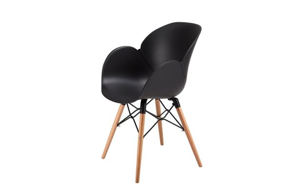 Oti Flower Dining Chairs Eames Style Modern Mid Century Room Wood Legs Lounge Arm Set Of 4 Black 4p Pieces Carton