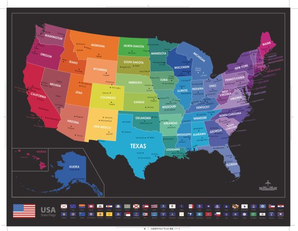 Shop for Scratch Off USA Map Poster - Travel Map with State Flags ...