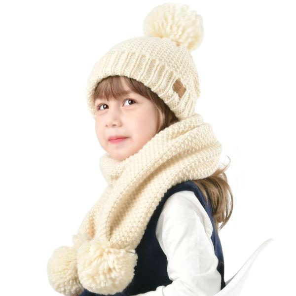 565377368df Kids Winter Hat Scarf Knit Beanie Toddler Children Pom Pom Hat Girls Boys  CH002