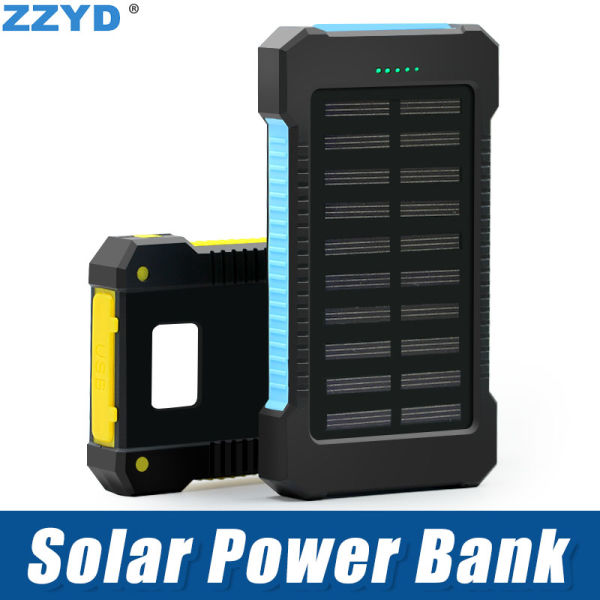 buy popular 197df 358b1 ZZYD Portable Universal 6000mAh Solar Power bank External Battery Pack Dual  USB Waterproof Phone Charger For iP 7 8 Samsung S8 Note 8 1 Piece / piece