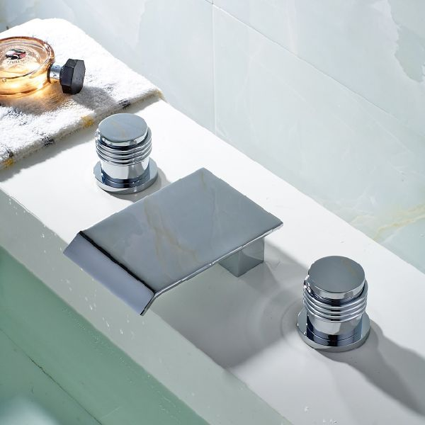 FLG Deck Mounted Three Holes Double Handles Widespread Waterfall Bathroom Sink Faucet, Chrome Finish
