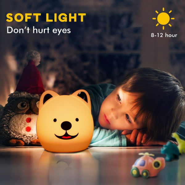 Night Lights For Kids Cute Animal Baby Lamp Silicone Light With Touch Sensor Portable Rechargeable Multicolor Breathing Nightlight Birthday