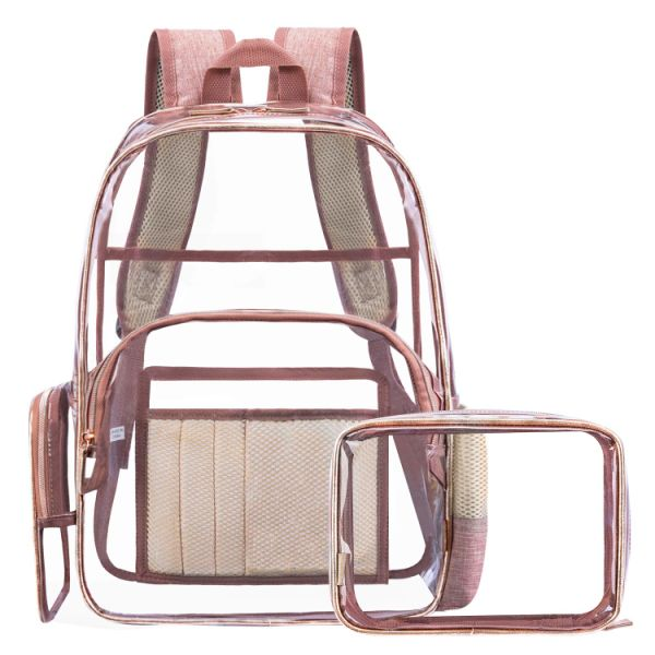 0adcba215e70 CLOUDYBAY Nice Ebag Clear Backpack with Cosmetic Bag & Case, Clear  Transparent PVC Multi-pockets School Outdoor Bookbag Travel Makeup Quart  Luggage ...