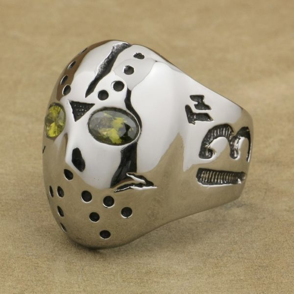 316L Stainless Steel Halloween Mask Jason Hockey Olive Green CZ Eyes Mens Biker Ring 3F601 US Size 7