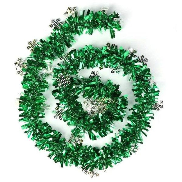 Christmas Tinsel Garland.Colorful 2m Snowflake Christmas Tinsel Garland New Year Decor Xmas Tree Decor Ornaments Party Decoration Green 1 Piece Box