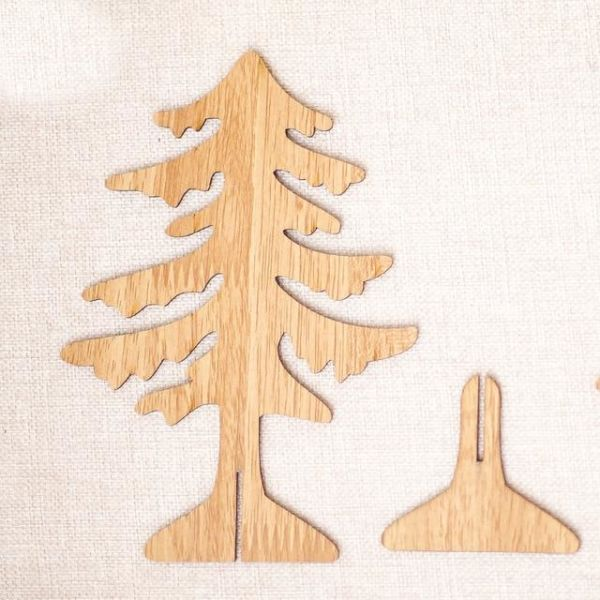 1pcs Christmas Wooden Tree 2 Sizes Pendants Ornaments Diy Ornaments Kid Gift Xmas Tree Ornaments For Christmas Party Decoration Natural S 1 Piece