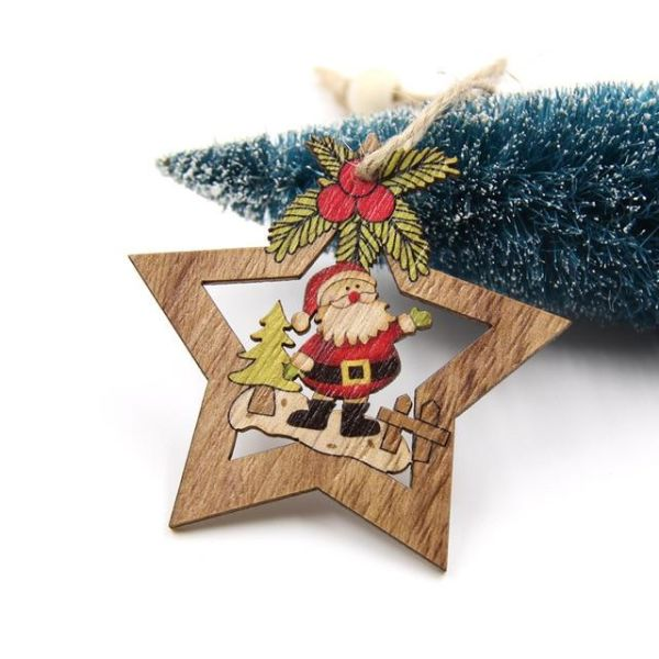 4pcs Christmas Star Wooden Pendants Ornaments Xmas Tree Ornament Diy Wood Crafts Kids Gift For Home Christmas Party Decorations Santa Clause 4 Pieces