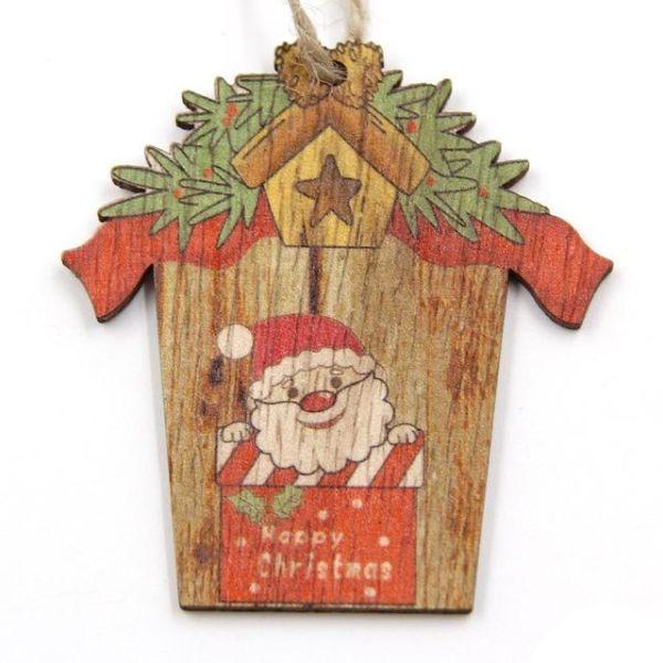 Hot 1pc Creative Christmas Wooden Pendants Ornaments Diy Wood Crafts Xmas Tree Ornaments Christmas Party Decorations Kids Gift 796 Santa Claus 1 Piece