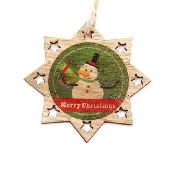 Christmas Wood Crafts.Hot 1pc Creative Christmas Wooden Pendants Ornaments Diy Wood Crafts Xmas Tree Ornaments Christmas Party Decorations Kids Gift 677 Star Snowman 1