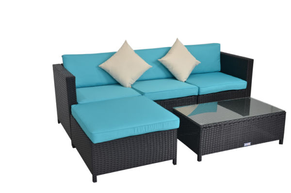 Pleasing Outime 5Pcs Black Rattan Wicker Outdoor Sectional Couch Sofa Set Garden Lawn Patio Furniture With Turquoise Cushion 1 Set Package Gamerscity Chair Design For Home Gamerscityorg