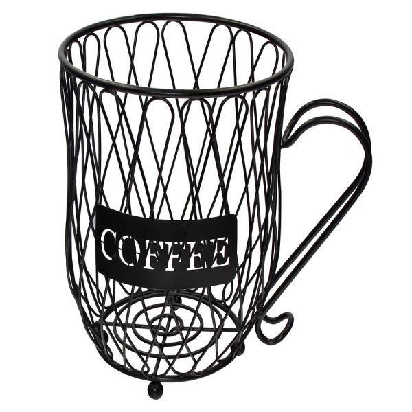 Metal 20 K Cup Carousel Espresso Pod Holder And Iron Wire Coffee Mug Storage Basket