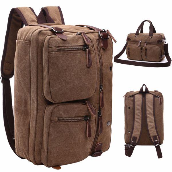 6936ea646a1 Mygreen Vintage Laptop Backpack Messenger Bag-Hybrid Briefcase Backpack  Vintage BookBag Rucksack Satchel - Waxed Canvas for 15 Inch Laptop 1 Piece    Bag