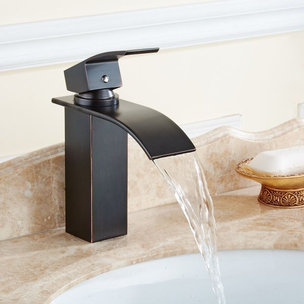 Flg Oil Rubbed Bronze Single Handle Waterfall Bathroom Vessel Sink Faucet 1 Piece Box