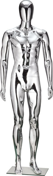 Silver Chrome Plastic PP Male Mannequin Full Body Standing Style