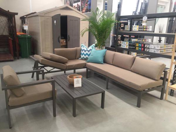 Stellahome Aluminum Outdoor Sectional Patio Sofa Furniture Modular 4pcs  Conversation Set Tan,No Assembly W