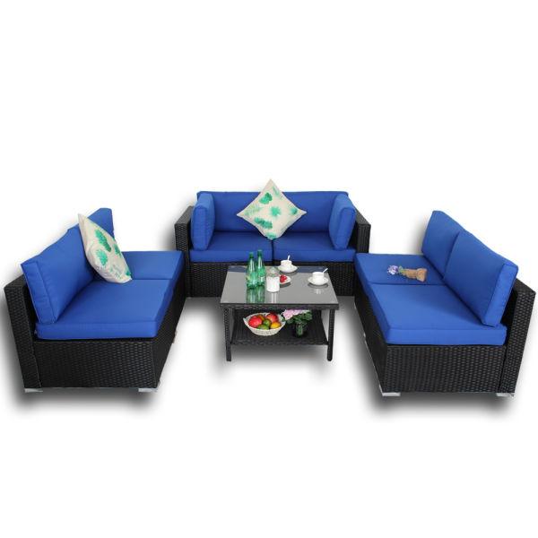 7pcs Patio Furniture Garden Rattan Sofa Sectional With Tea Tables Black  Rattan+Royal Blue Cushion 1 Set / Carton