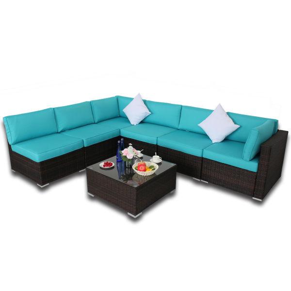 Shop For Patio Furniture Garden Pe Brown Rattan Sofa 7pcs Outdoor