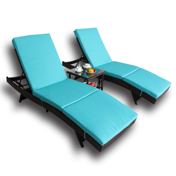 Pleasing Patio Chaise Lounge Pe Brown Rattan Furniture Garden Lounger Chair Outdoor Pool Sunbed Dabeds 3Pcs Turquoise 1 Set Carton Machost Co Dining Chair Design Ideas Machostcouk