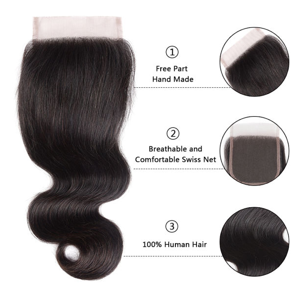 10a Brazilian 4 Bundles with Closure Body Wave 100% Unprocessed Virgin Human Hair 4 Bundles of Brazilian Hair with Free Part Lace Closure Nature Color (14 16 18 20+14)