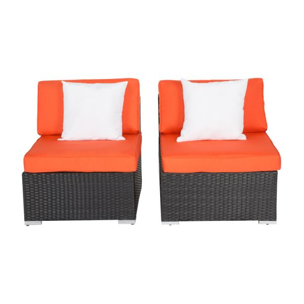 Kinsunny 2-Piece Single Sofa Outdoor Patio Rattan Wicker Sectional Sofa Set  Furniture With Pillows, Orange 2 Pieces / Box