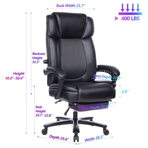 VANBOW Big and Tall Reclining Leather Office Chair - High Back Executive  Computer Desk Chair with Adjustable Built-in Lumbar Support, Angle Recline  ...
