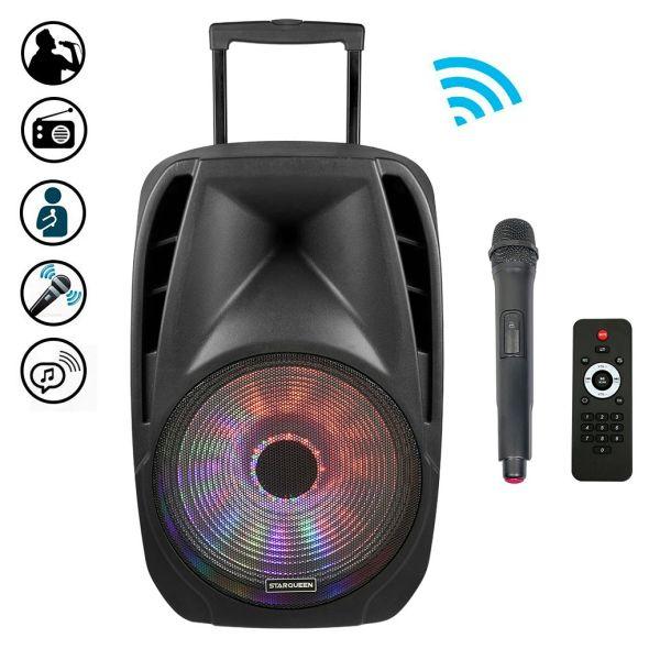 Karaoke Party Sound Anlage 2x Mikrofon USB SD Bluetooth Fernbedienung Radio Box