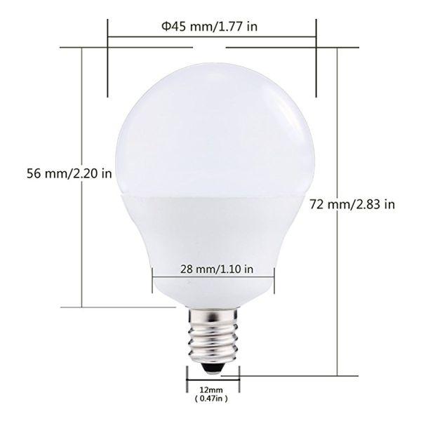 G14 LED Bulb, E12 Base, 5W (40 Watt Equivalent), Natural Daylight White  4000K, Globe Bulb for Ceiling Fan 6 Pieces / Box