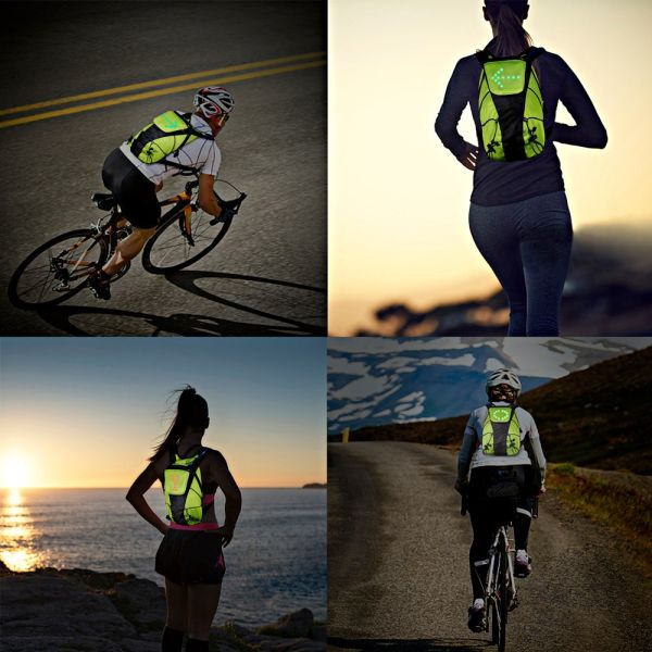 ECEEN LED Flashing Vest and Cycling Stop Light Double Visible Front and Rea...