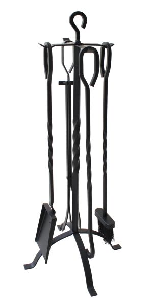 Everflying 5 Pieces Fireplace Tools Tool Set Wrought Iron Fireset Firepit Fire Place Pit Poker Wood Stove Log Tongs Holder Tools Kit Sets with Handles Modern Black