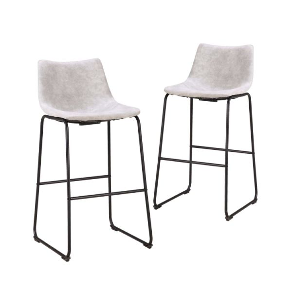 29 Inch Vintage Metal Pub Bar Stools - Set of 2 Wear-resistant Fabric Barstools with Durable Frame and Floor Protector, Grey