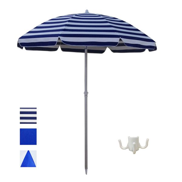 0b03b8f11e97 ShadeRest Aluminum Beach Umbrella, 6.5 feet with Sand Anchor and Air  Vent-Blue Striped 1 Piece / Box