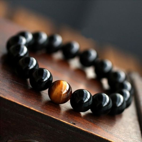 Natural Black Onyx with Tiger eye Stone Beads Men Jewelry Bracelet 12  Constellation Leo Lovers Energy Balance Bracelet 1 Piece / Box