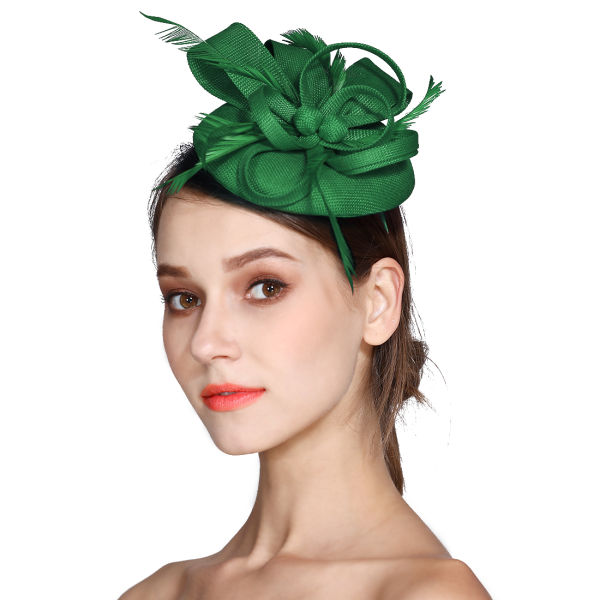 Fascinator Feather Fascinators for Women Pillbox Hat for Wedding Party  Derby Royal Banquet - Green 3d0b49f305c