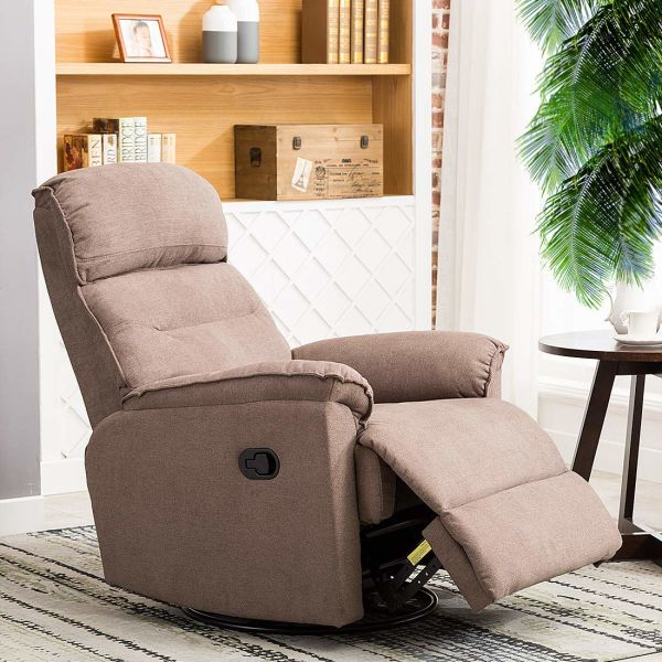 CANMOV Contemporary Fabric Swivel Rocker Recliner Chair - Soft Microfiber  Single Manual Reclining Chair, 1 Seat Motion Sofa Recliner Chair with  Padded ...