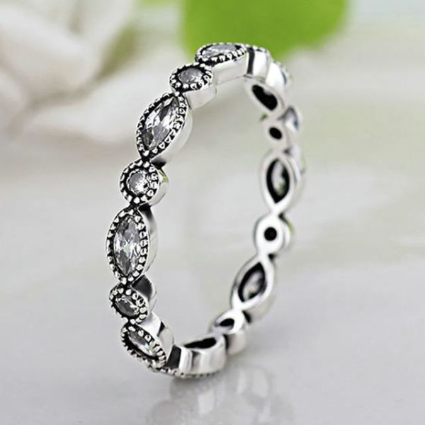 62f955dcf Fashion Flowers Pandora Finger Rings Clear CZ Dazzling Daisy Ring for Women  Wedding Jewelry Accessories,