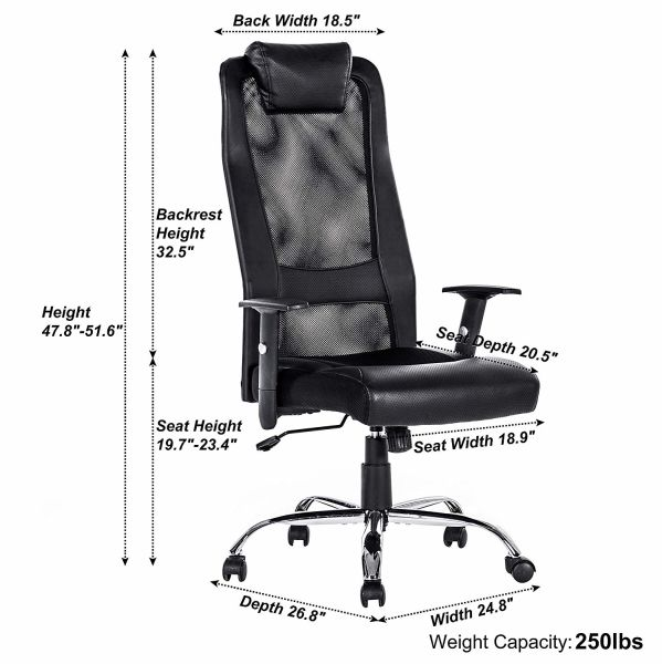 Remarkable Vanbow Extra High Back Mesh Office Chair Adjustable Arms Ergonomic Computer Desk Task Chair With Padded Leather Headrest And Lumbar Support Black 1 Home Interior And Landscaping Transignezvosmurscom